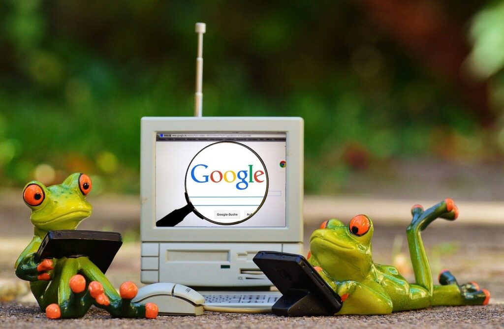 frogs, computer, google
